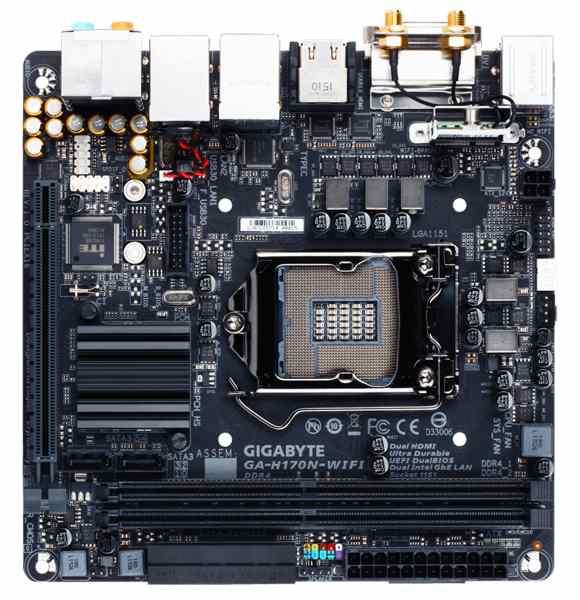 GIGABYTE MB Sc LGA1151 H170N-WIFI, Intel H170, 2xDDR4, VGA, mini-ITX